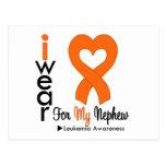 Leukemia I Wear Orange Heart Ribbon For My Nephew Postcards