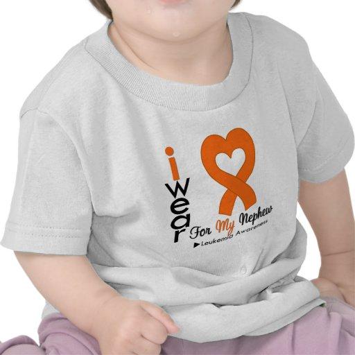 Leukemia I Wear Orange Heart Ribbon For My Nephew Tees