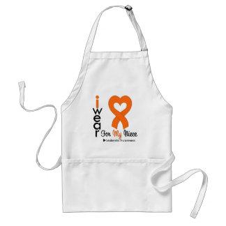 Leukemia I Wear Orange Heart Ribbon For My Niece Adult Apron