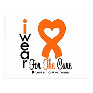 Leukemia I Wear Orange Heart Ribbon For The Cure Post Cards