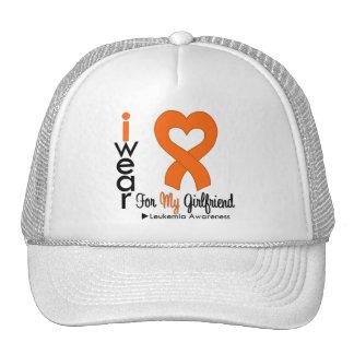 Leukemia I Wear Orange Heart Ribbon Girlfriend Trucker Hat