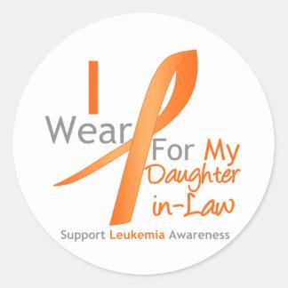 Leukemia I Wear Orange Ribbon Daughter-in-Law Classic Round Sticker