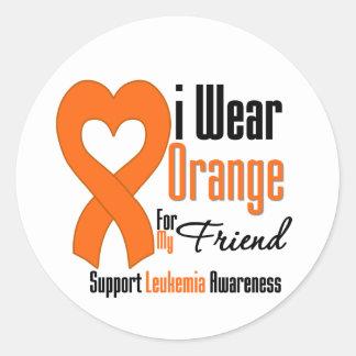 Leukemia I Wear Orange Ribbon For My Friend Sticker