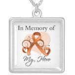 Leukemia - In Memory of My Hero Square Pendant Necklace