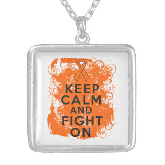 Leukemia Keep Calm and Fight On Square Pendant Necklace