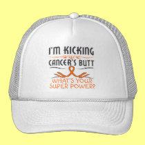 Leukemia Kicking Cancer Butt Super Power Trucker Hat