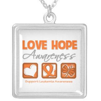 Leukemia Love Hope Awareness Square Pendant Necklace