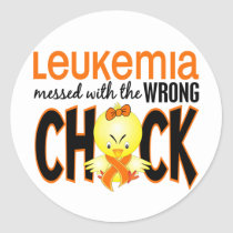 Leukemia Messed With The Wrong Chick Classic Round Sticker