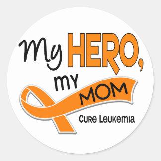 Leukemia MY HERO MY MOM 42 Round Sticker