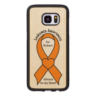 Leukemia Name Customizable Awareness Ribbon Wood Samsung Galaxy S7 Edge Case