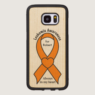 Leukemia Name Customizable Awareness Ribbon Wood Samsung Galaxy S7 Edge Case