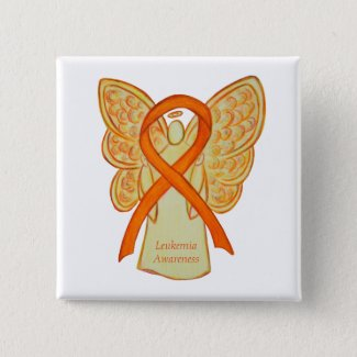 Leukemia Orange Awareness Ribbon Angel Art Pins