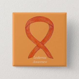 Leukemia Orange Awareness Ribbon Custom Art Pins