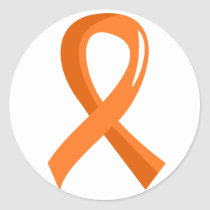 Leukemia Orange Ribbon 3 Classic Round Sticker