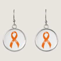 Leukemia Orange Ribbon Earrings