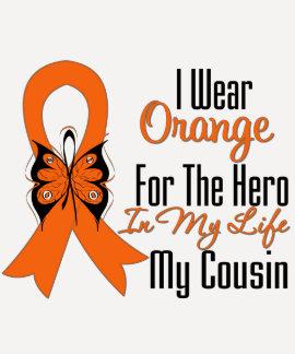 Leukemia Orange Ribbon Hero My Cousin Tshirts