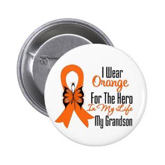 Leukemia Orange Ribbon Hero My Grandson Button