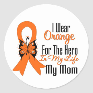 Leukemia Orange Ribbon Hero My Mom Stickers
