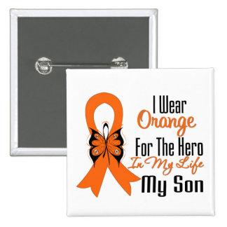 Leukemia Orange Ribbon Hero My Son 2 Inch Square Button
