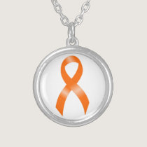 Leukemia Orange Ribbon Silver Plated Necklace
