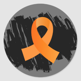 Leukemia Orange Ribbon With Scribble Classic Round Sticker