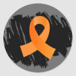 Leukemia Orange Ribbon With Scribble Sticker