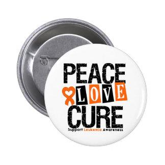 Leukemia Peace Love Cure Pinback Button