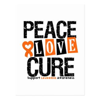 Leukemia Peace Love Cure Postcard