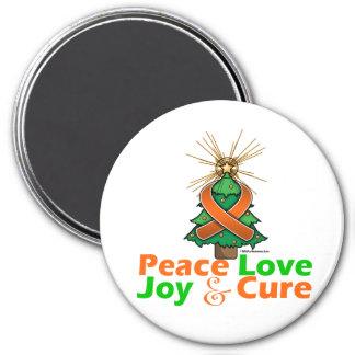 Leukemia Peace Love Joy Cure 3 Inch Round Magnet