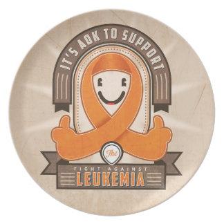Leukemia - Retro Charity Ribbon - Plate