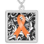 Leukemia Ribbon Deco Floral Noir Pendant