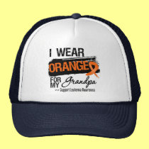 Leukemia Ribbon For My Grandpa Trucker Hat