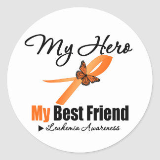 Leukemia Ribbon My HERO My Best Friend Round Sticker