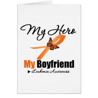 Leukemia Ribbon My HERO My Boyfriend Greeting Card