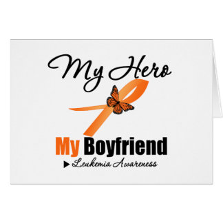 Leukemia Ribbon My HERO My Boyfriend Greeting Cards