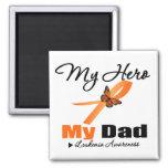 Leukemia Ribbon My HERO My Dad 2 Inch Square Magnet