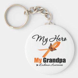 Leukemia Ribbon My HERO My Grandpa Key Chain