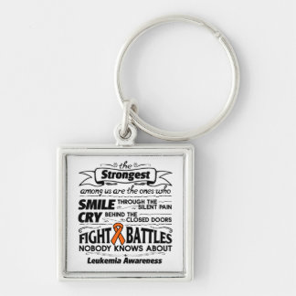 Leukemia Strongest Among Us Silver-Colored Square Keychain
