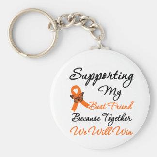 Leukemia Supporting My Best Friend Basic Round Button Keychain