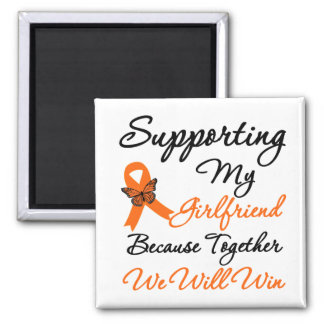 Leukemia Supporting My Girlfriend 2 Inch Square Magnet