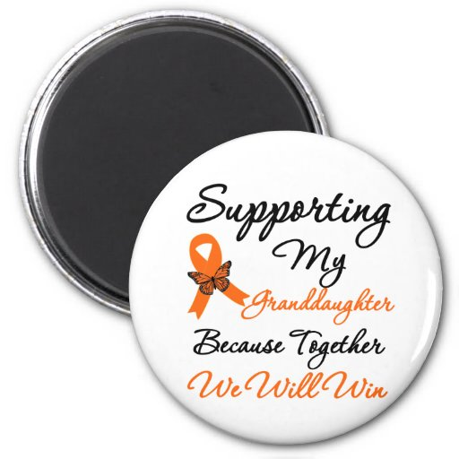 Leukemia Supporting My Granddaughter 2 Inch Round Magnet