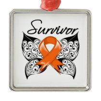 Leukemia Survivor Butterfly Metal Ornament