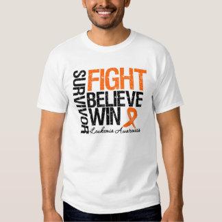 Leukemia Survivor Fight Believe Win Motto Tshirts