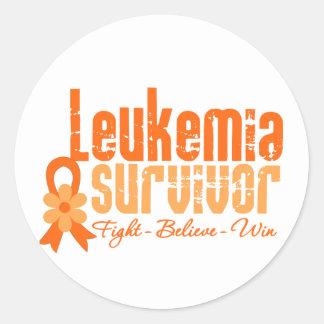 Leukemia Survivor Flower Ribbon Classic Round Sticker