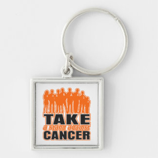 Leukemia -Take A Stand Against Cancer Silver-Colored Square Keychain