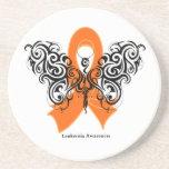 Leukemia Tribal Butterfly Ribbon Coaster