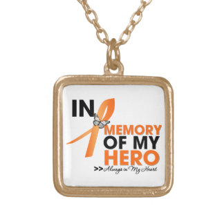 Leukemia Tribute In Memory of My Hero.png Square Pendant Necklace