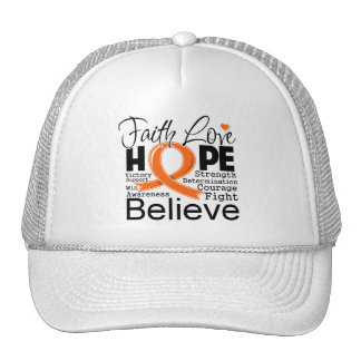 Leukemia Typographic Faith Love Hope Trucker Hat