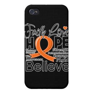 Leukemia Typographic Faith Love Hope iPhone 4 Case