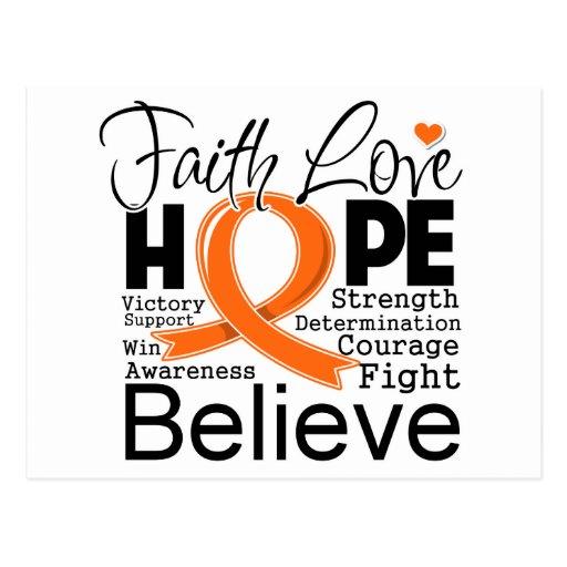 Leukemia Typographic Faith Love Hope Postcard